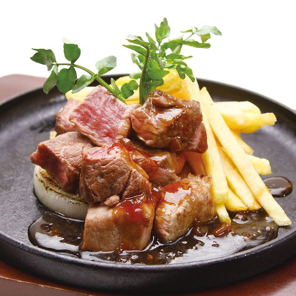 【極旨 生ラム】<br /> 野菜たっぷりラムサイコロステーキ