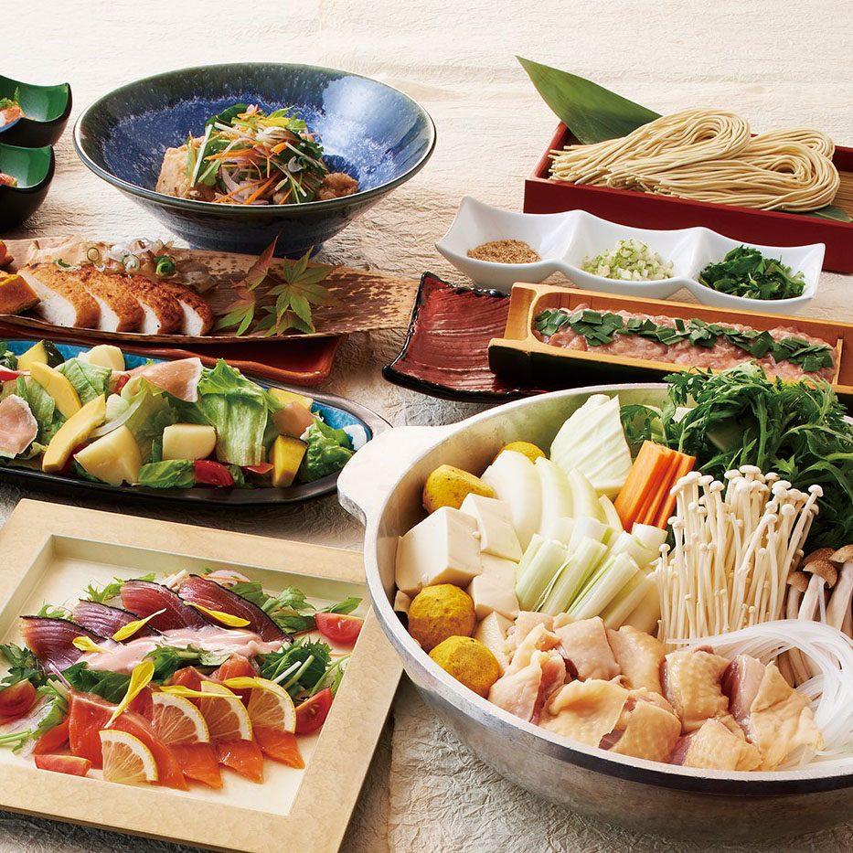 鶏と生つくねのちゃんこ鍋 又は 豚と季節野菜のせいろ蒸コース<全7品>