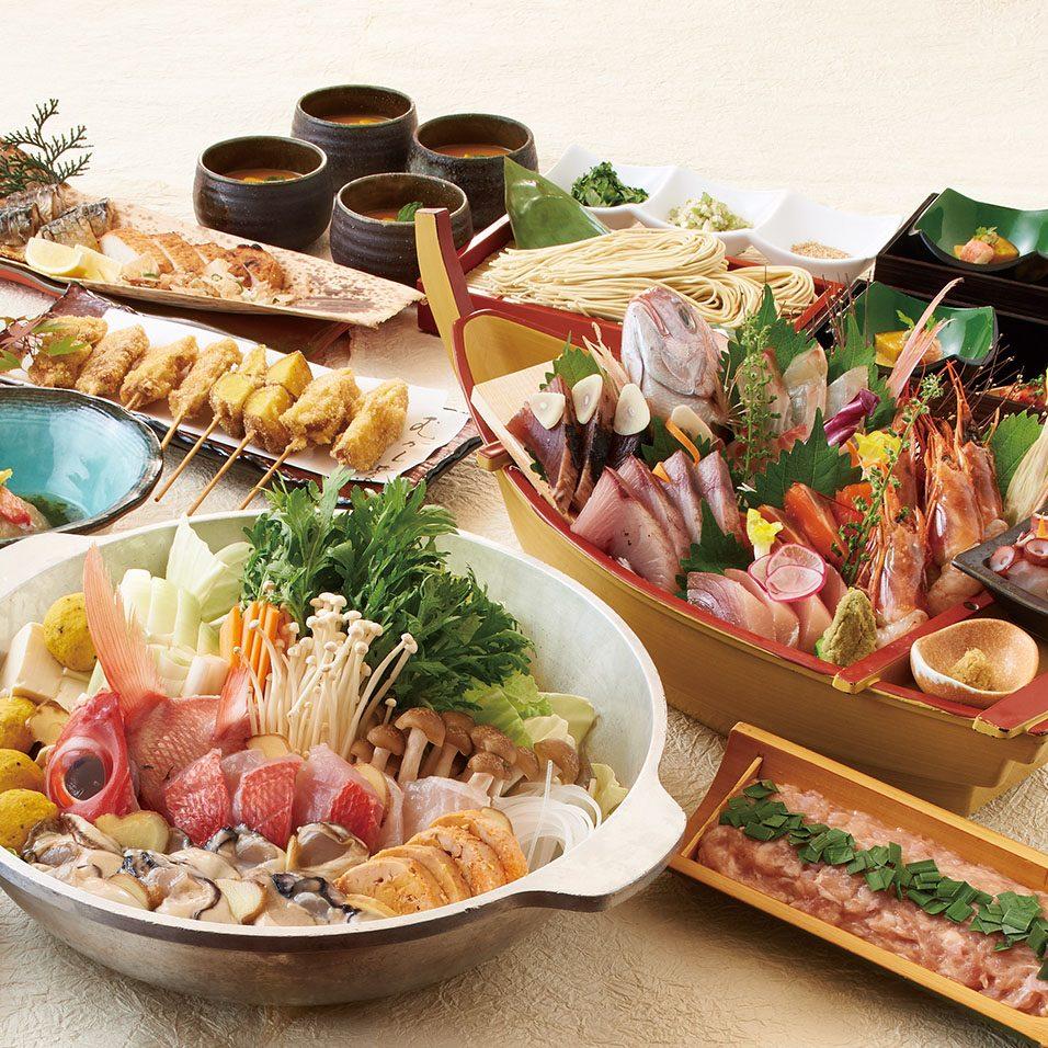 大漁船盛りと海鮮4種の生つくねちゃんこ鍋コース<全8品>